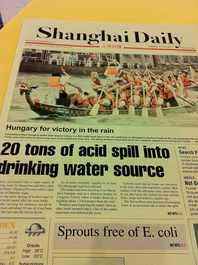 20 Tons of acid spill into drinking water source