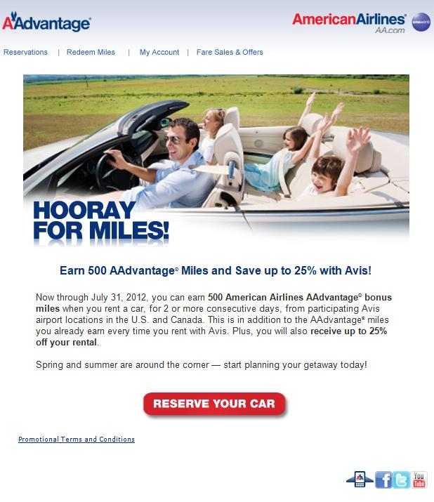 500 AAdvantage Bonus Miles From Avis